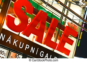 groot, verkoop teken, boven, winkel, ingang