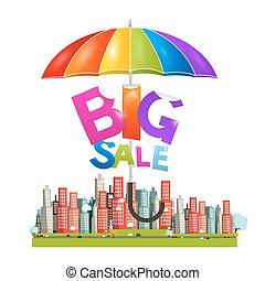 groot, verkoop, titel, met, kleurrijke, parasol, -, paraplu, boven, stad, -, plat, ontwerp, vector, illustratie