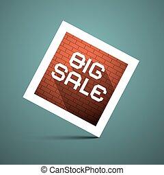 groot, verkoop, titel, op, blauwe achtergrond, vector, illustratie