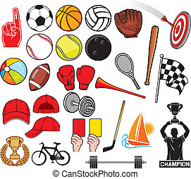 groot, verzameling, sporten