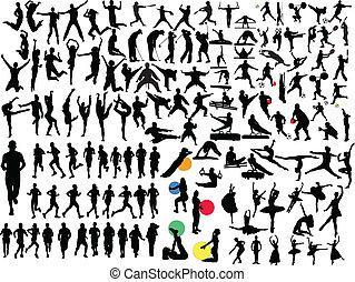 groot, verzameling, van, anders, sportende
