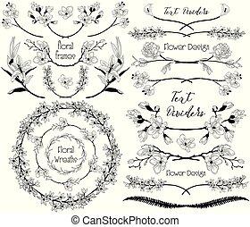 groot, verzameling, van, floral ontwerpen, communie, dividers, lijstjes