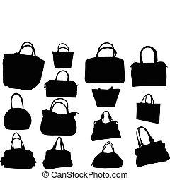 groot, verzameling, van, handtassen, -, vector