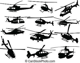 groot, verzameling, van, helikopters