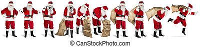 groot, verzameling, van, santa claus, rood wit, vrijstaand, achtergrond