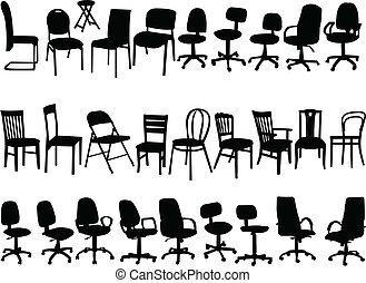 groot, verzameling, van, stoelen, -, vector