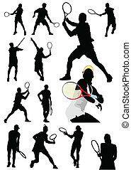 groot, verzameling, van, tenniser, sil