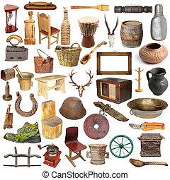groot, verzameling, van, vrijstaand, ouderwetse , voorwerpen