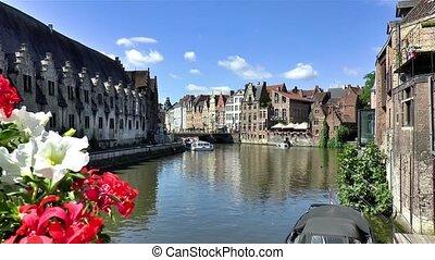 Great Meat House, Groot Vleeshuis, Grasbrug Bridge, and traditional houses and buildings along the Leie River in Ghent, Belgium. Image captured from Vleeshuisbrug Bridge.