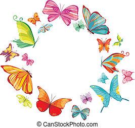groot, vlinder, set