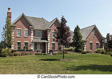 groot, voorkant, baksteen, kolommen, thuis