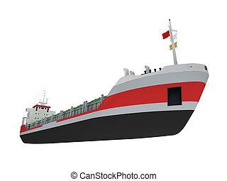 groot, vrachtschip, vrijstaand, vooraanzicht
