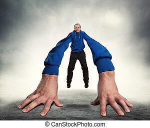 groot, vreemd, man, handen