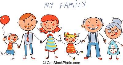 groot, vrolijke , family., in, de, stijl, van, kinderen, werkjes