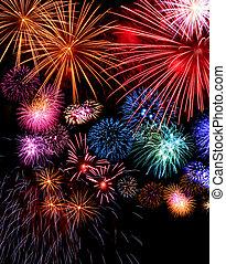 groot, vuurwerk beeldscherm, feestelijk