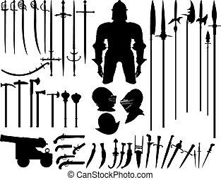 groot, wapens, set, middeleeuws