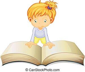 groot, weinig; niet zo(veel), boek, girl lezen