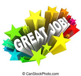 groot, werk, woorden, het roemen, een, succesvolle , doel,...