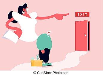 groot, werkloosheid, baas, deur, wijzende, coronavirus