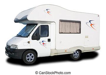 groot, witte , kampeerautobestelwagen, vrijstaand