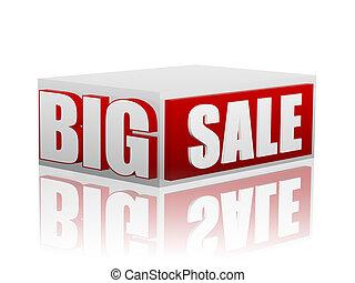 groot, witte kubus, verkoop, rood
