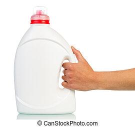 groot, witte , plastice fles, in, hand