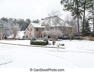 groot, woning, baksteen, sneeuw