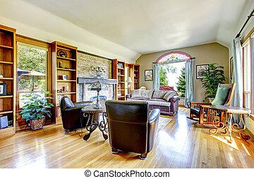 groot, woonkamer, met, firepalce, en, loofhout, floor.