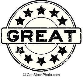 groot, woord, postzegel, rubber, zwarte achtergrond, zeehondje, grunge, witte , ster, ronde, pictogram