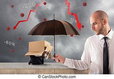 groot, zakenman, jouw, hulp, zakelijk, houden, paraplu, concept