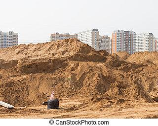 groot, zand, stapel