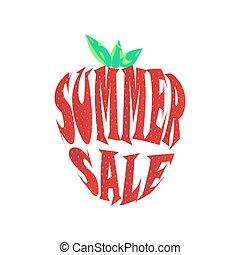 groot, zomer, verkoop, etiket