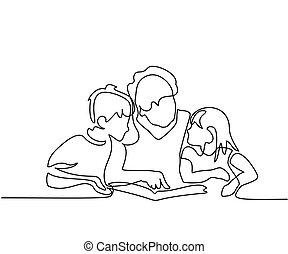 grootmoeder, boek, kleinkinderen, haar, lezende