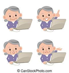 grootmoeder, draagbare computer, vrijstaand