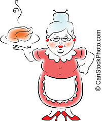 grootmoeder, gaar, mijn, diner.