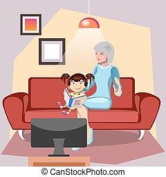 grootmoeder, granddaughter., boek, lezende , haar