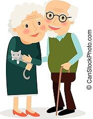 grootmoeder, grandfather., oud, paar.