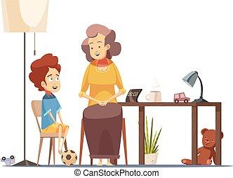 grootmoeder, kind, spotprent, retro