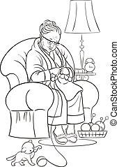 grootmoeder, kleurend boek, knittin.