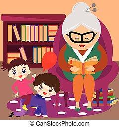 grootmoeder, lezende