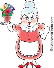 grootmoeder, meenemen, lapples, mijn