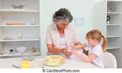 grootmoeder, met, haar, kleindochter
