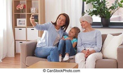 grootmoeder, moeder, boeiend, dochter, selfie