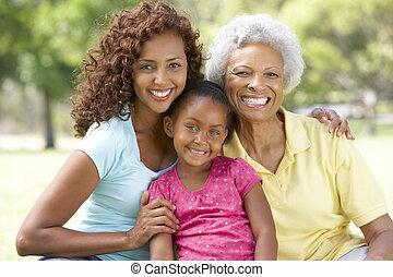 grootmoeder, park, kleindochter, dochter