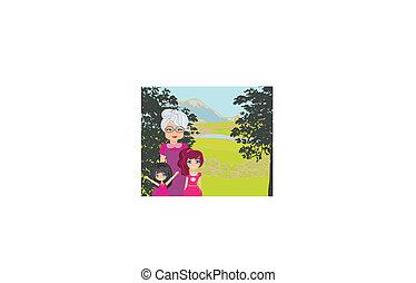 grootmoeder, park, kleinkinderen, wandeling