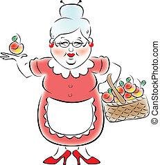 grootmoeder, pot, vasthouden, viooltje