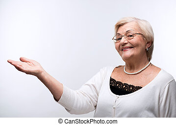 grootmoeder, ruimte, verticaal, het tonen, kopie, mooi en ...