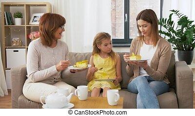 grootmoeder, taart, eten, dochter, moeder