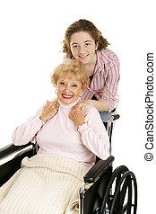 grootmoeder, &, tiener