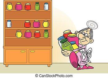 grootmoeder, treft voorbereidingen, jam